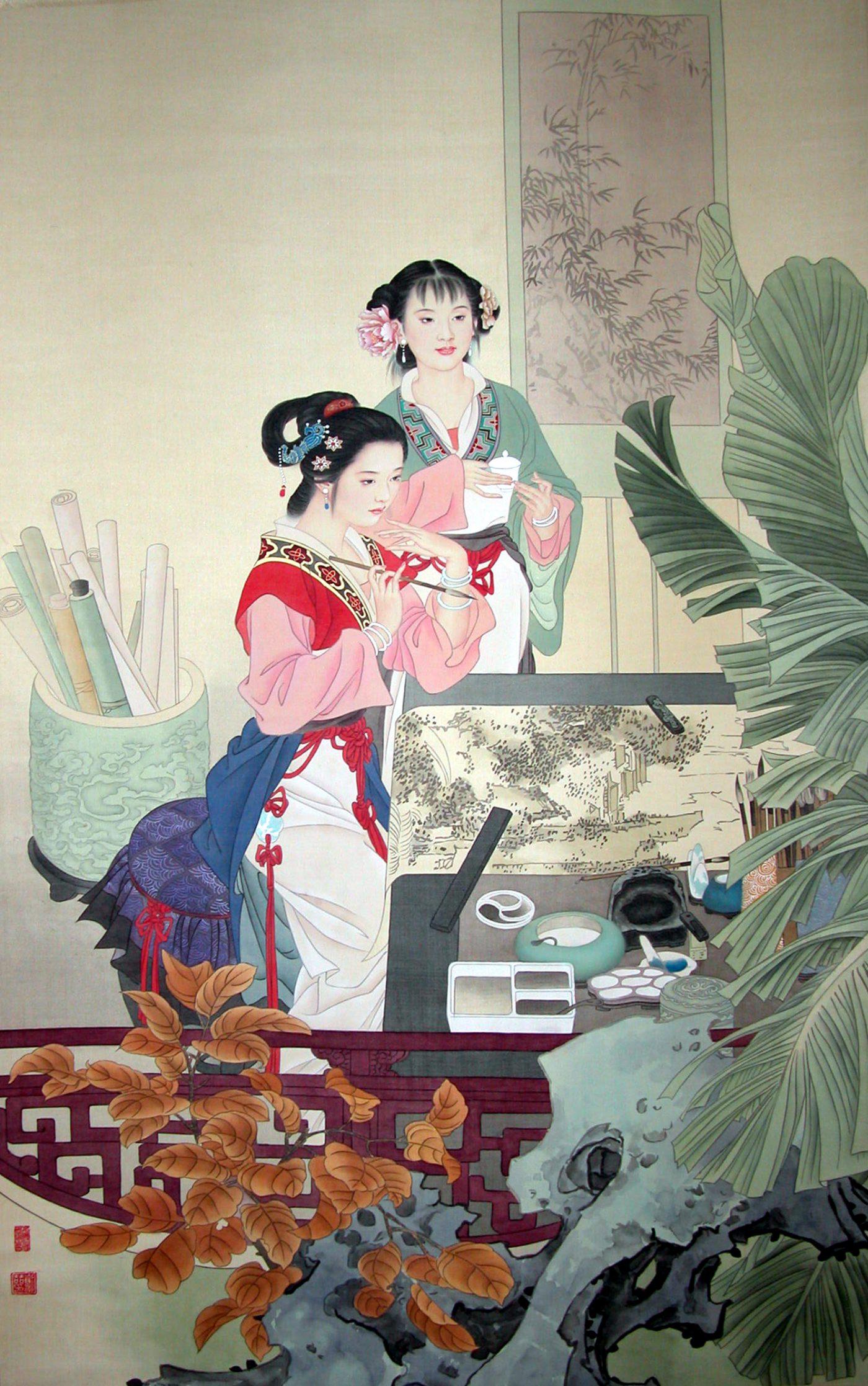 Femmes peintres - Tempera sur toile de soie - 64 X 104 cm - XXème