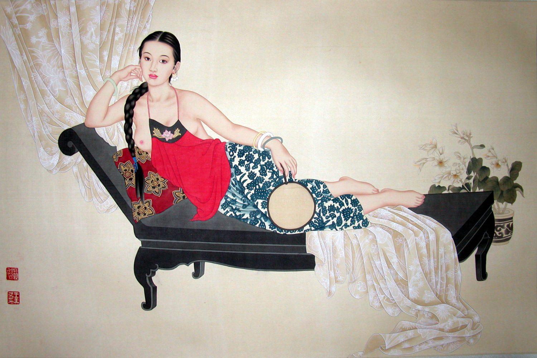 Femme au récamier - Tempera sur toile de soie - 64 X 104 cm - XXème