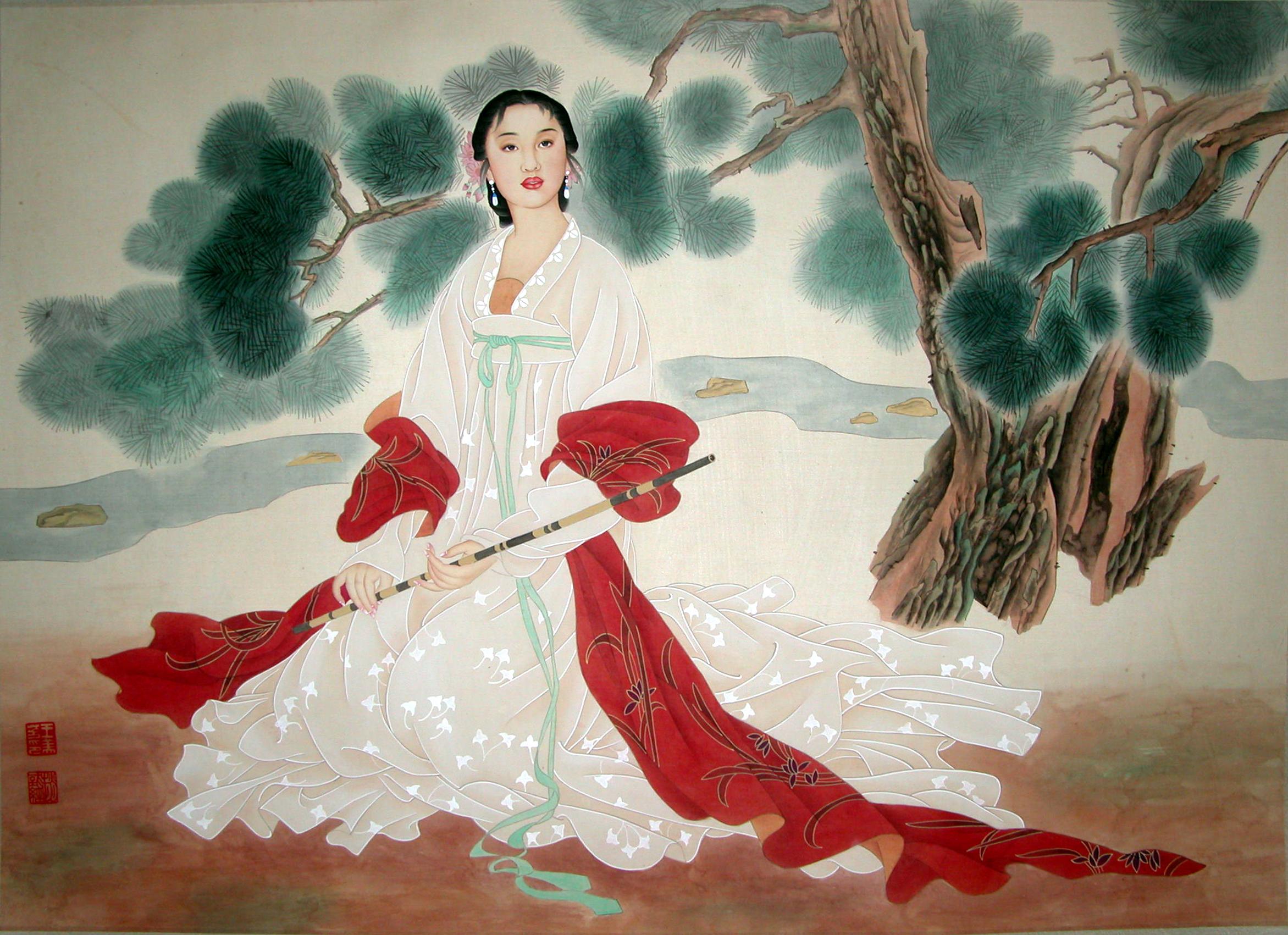 La Joueuse de Dizi - Tempera sur toile de soie - 64 X 104 cm - XXème