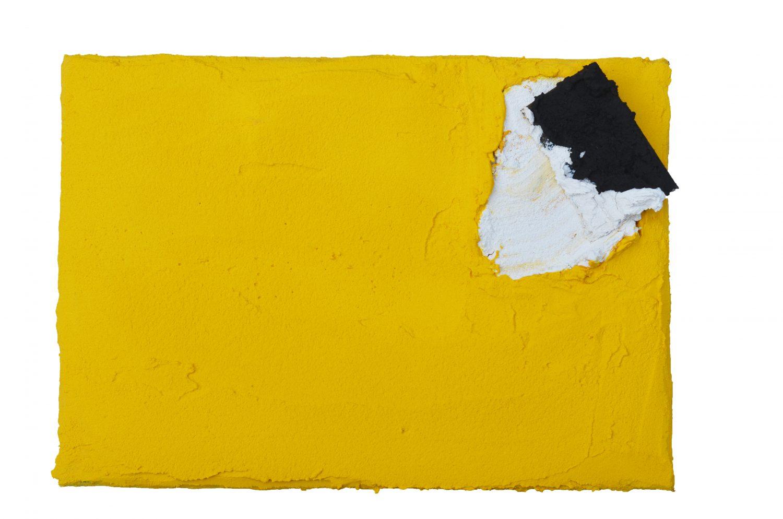 Angel Alonso - Dans le Jaune- Pigments sur toile - 18,5 x 27 cm