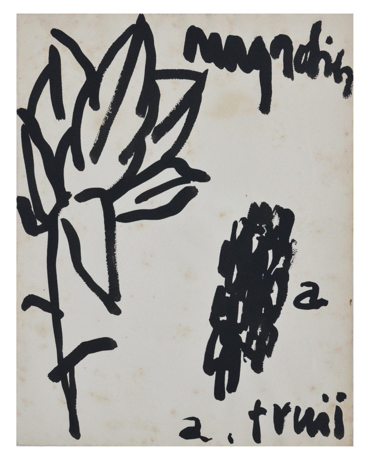 """Angel Alonso - Illustration pour """" Un Magnolia """" de Jeannine Worms - Encre - 32,5 x 25 cm - 1960"""