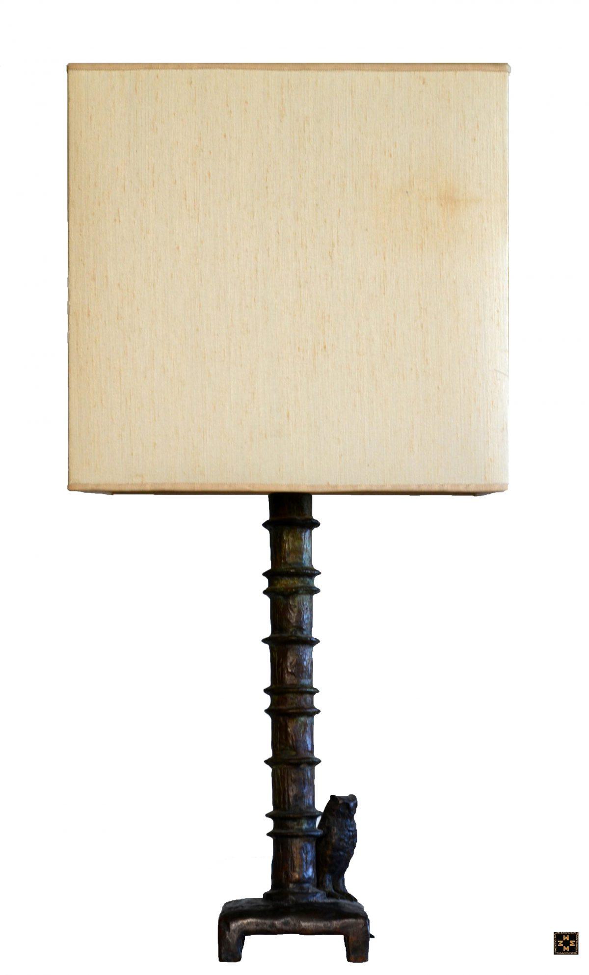 Paire de lampes au hibou (B) - Abat jour exécuté selon les plans de Marguerite Maeght.