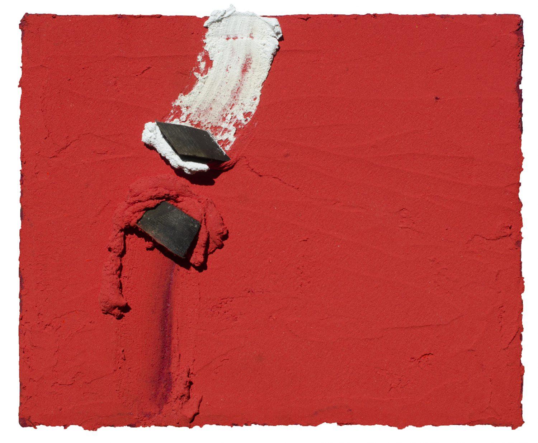 Tracés dans le Rouge - Pigments sur panneau - 22,5 x 27 cm