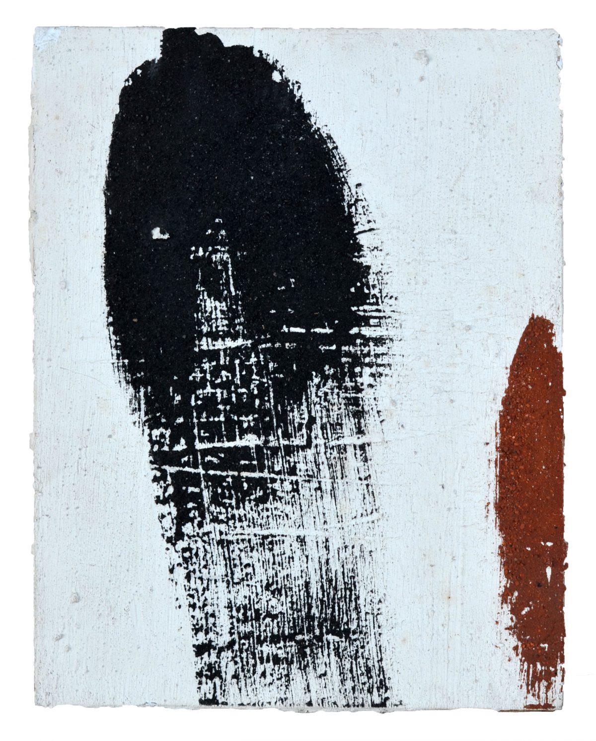 Angel Alonso -Charbon, terre rouge - Pigments sur panneau - 27 X 21 cm - 1968