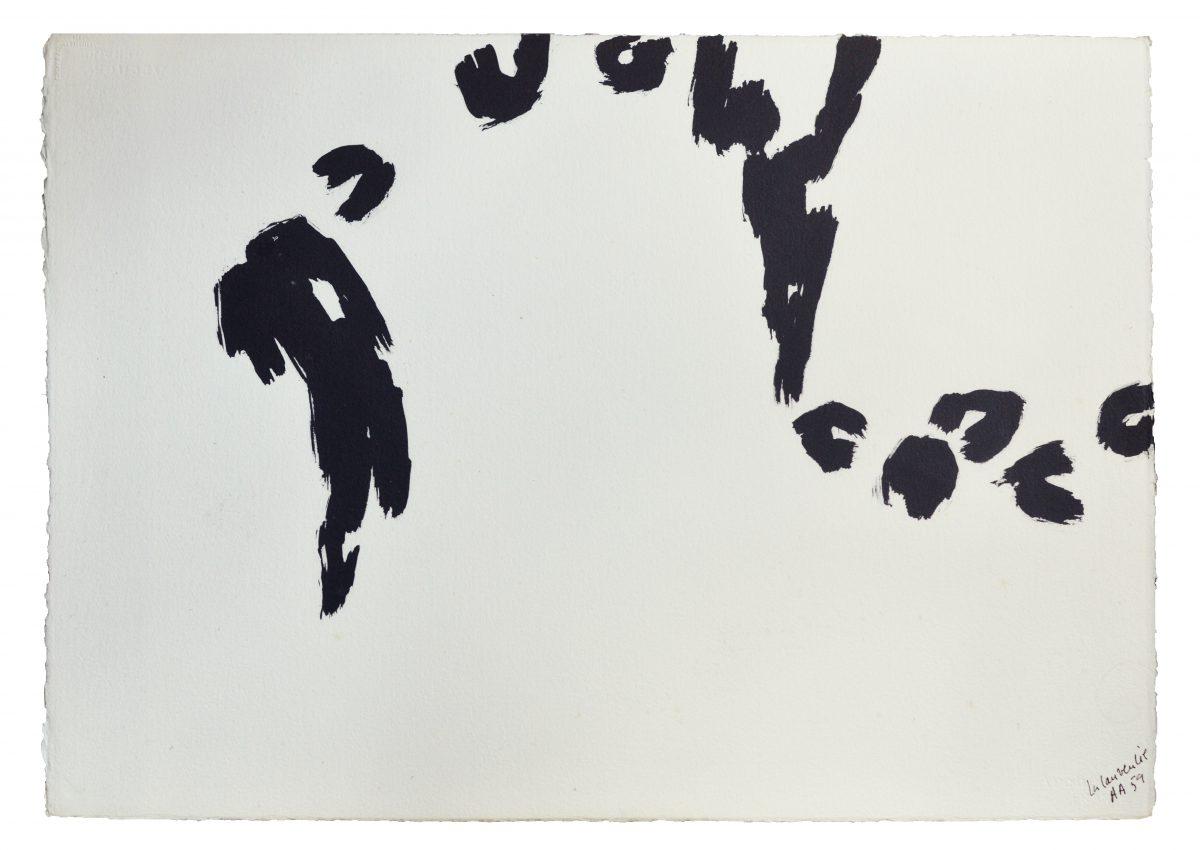 Angel Alonso - Épouvantail et oiseaux - La Laurencie - 54 x 65 cm - 1959