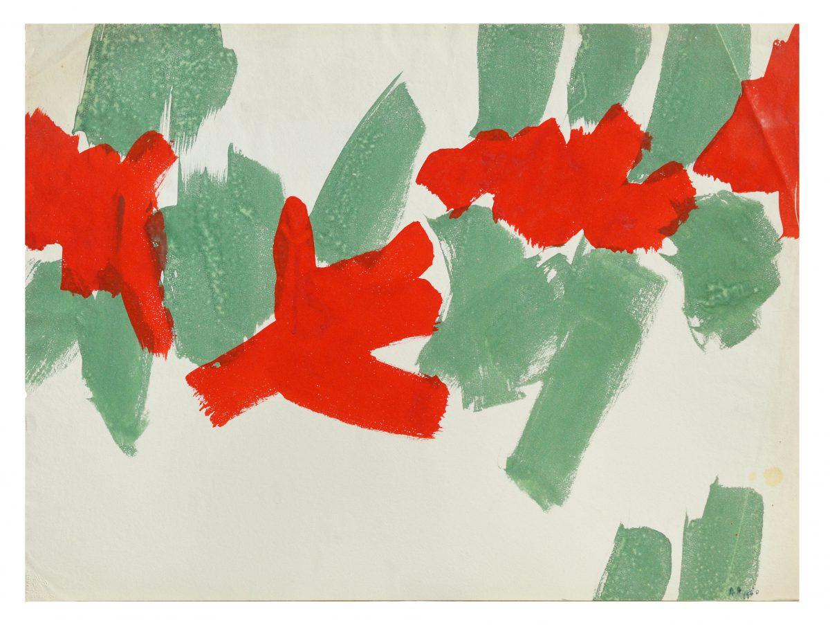 Angel Alonso - Rouge et Vert - Gouache - 51 x 66 cm - 1960