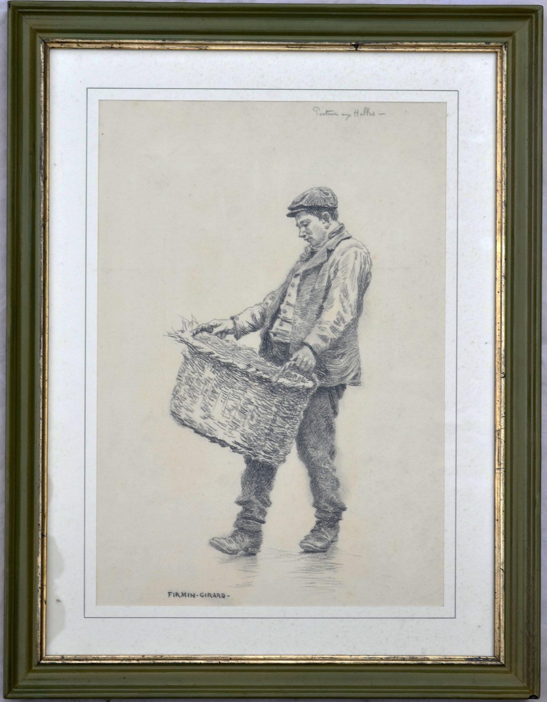 """Firmin Gérard (1821-1921) - """"Un porteur aux Halles"""" - Pierre noire - 97 x 23 cm - Dessin préparatoire pour son tableau """" Le Carreau des Halles """""""