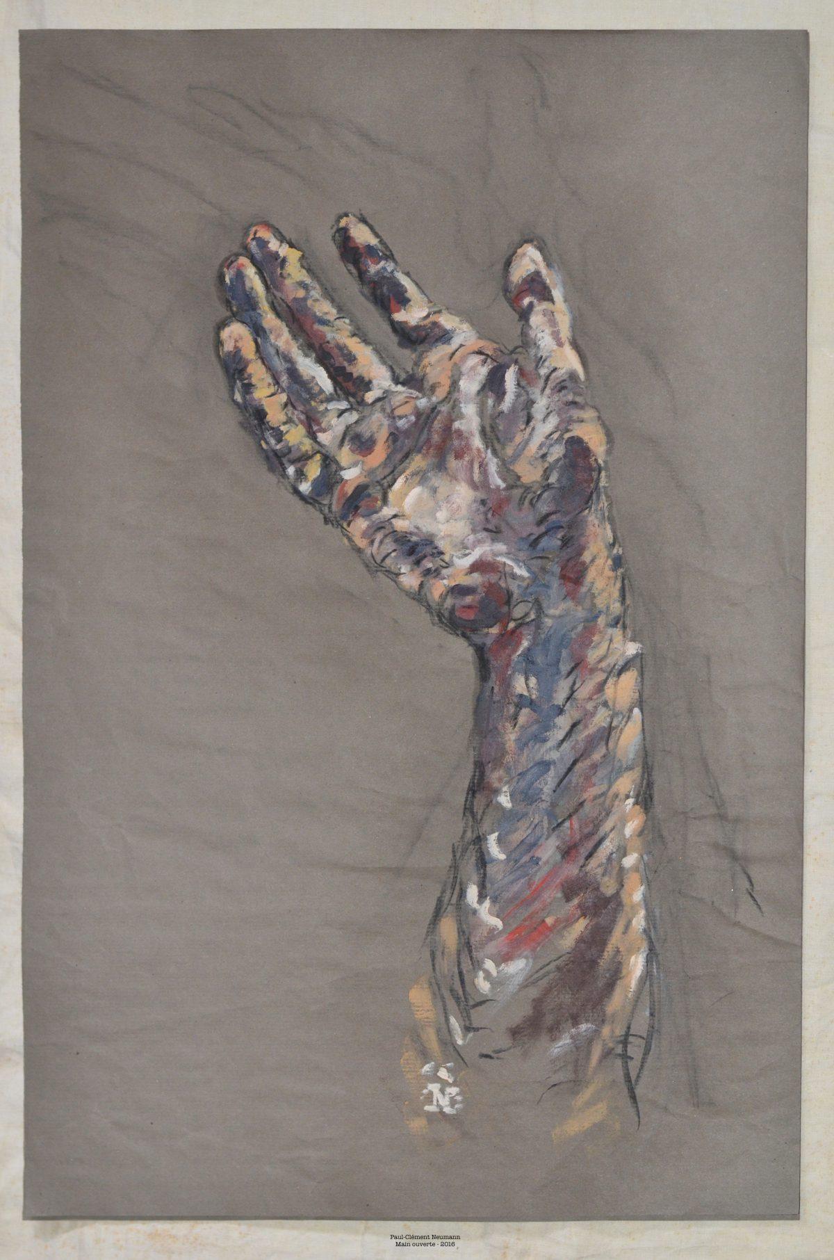 Main ouverte - Tempera sur papier - 75 x 50 cm