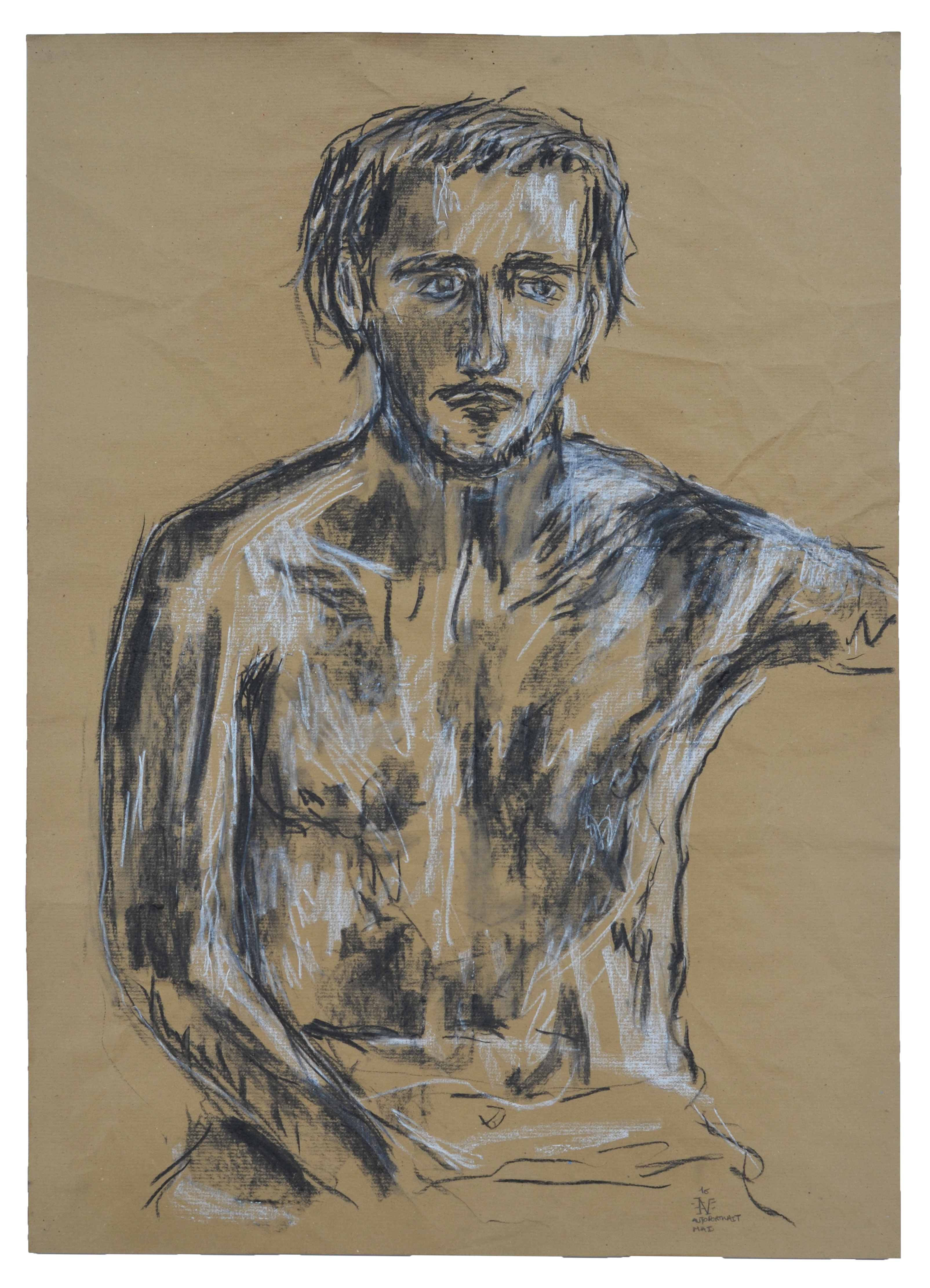 Autoportrait - Fusain - 75 x 50 cm - 2016
