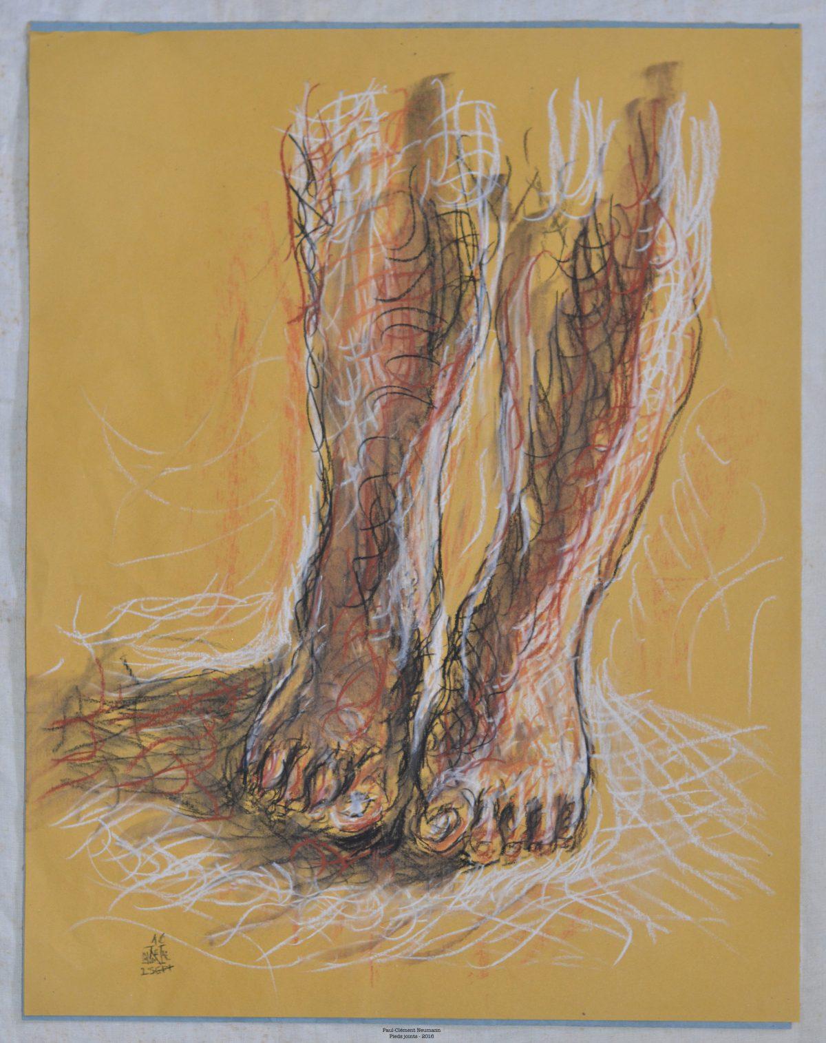 Pieds joints - Sanguine et fusain - 50 x 38 cm