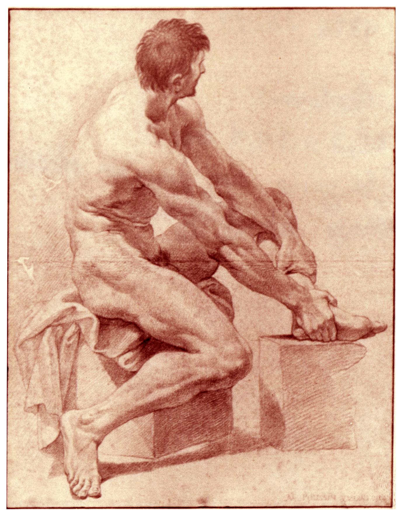 Jean - Baptiste Pierre (1714-1789) - Académie - Sanguine sur papier beige et filigrané - 45,3 x 36,1 cm