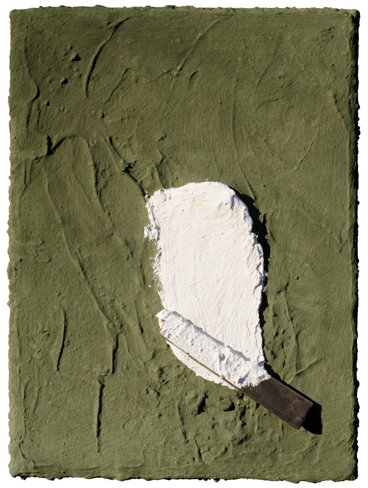 Angel Alonso - Blanc gras sur Vert sec - Huile sur toile