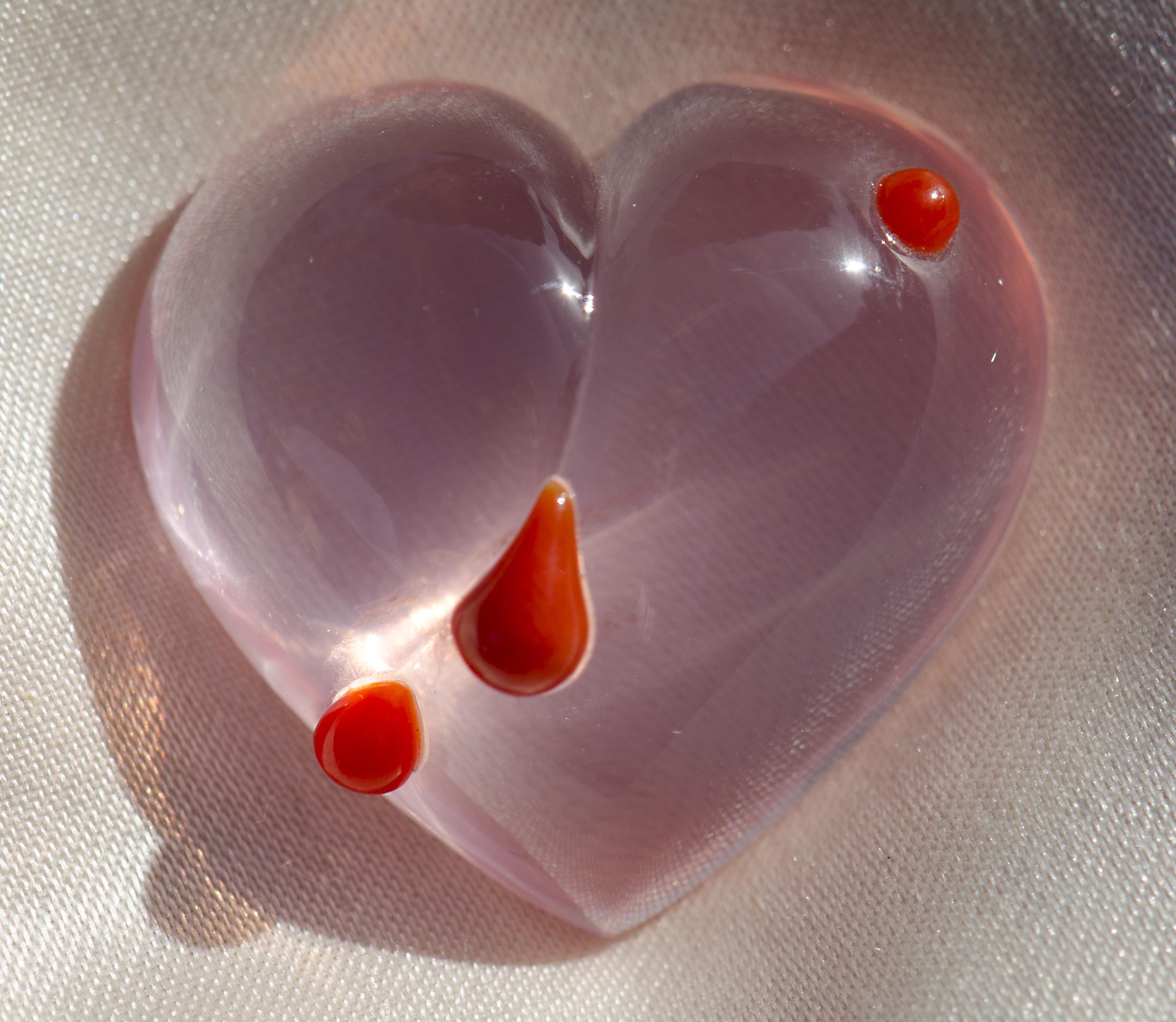 """"""" Cœur Brisé """" - Quartz Rose et larmes de corail - 60 carats"""