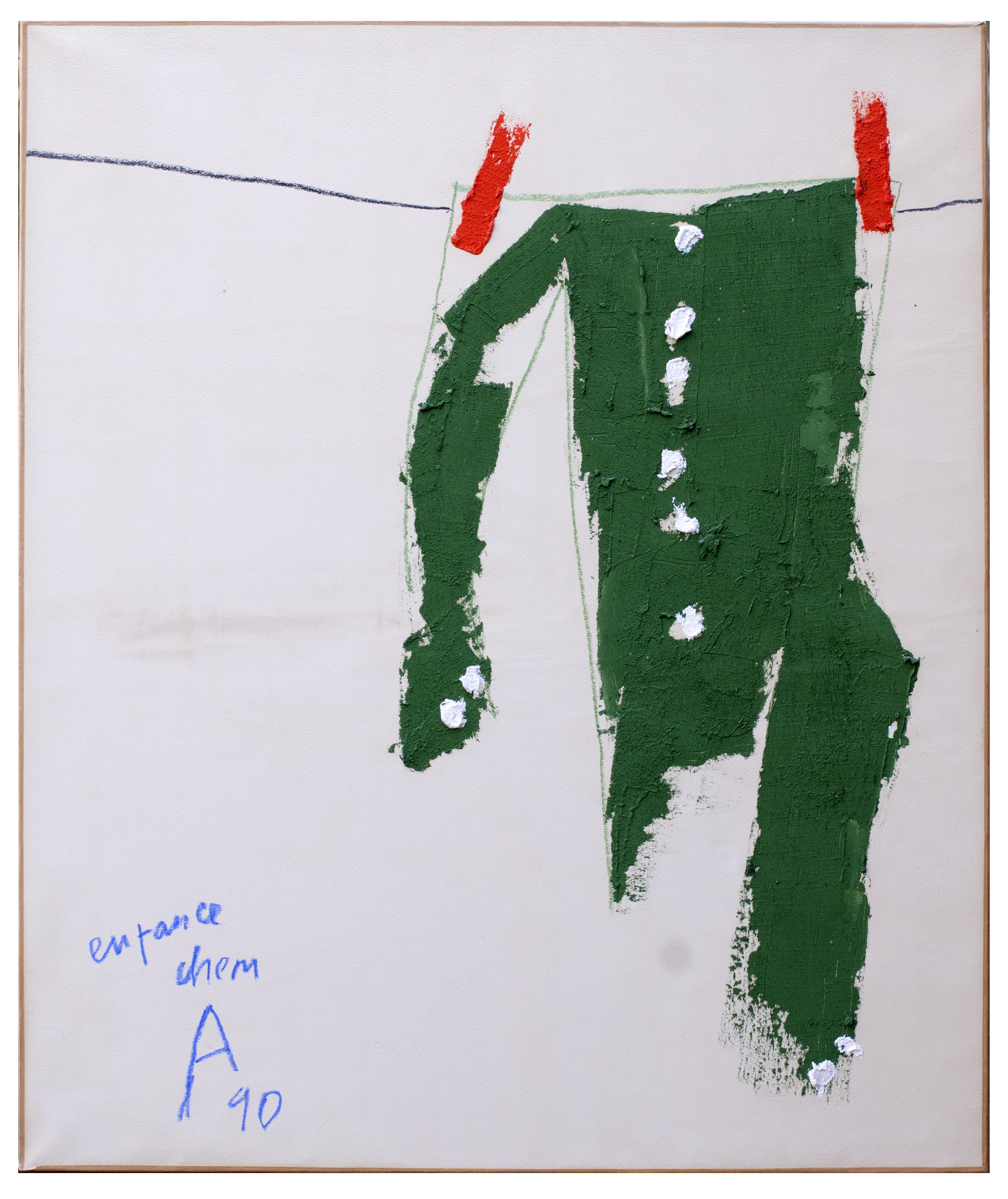 Angel Alonso - Enfance - Pigments sur papier marouflé sur toile - 83 x 70 cm - Reproduit dans le catalogue de l'exposition de Dreux p.94