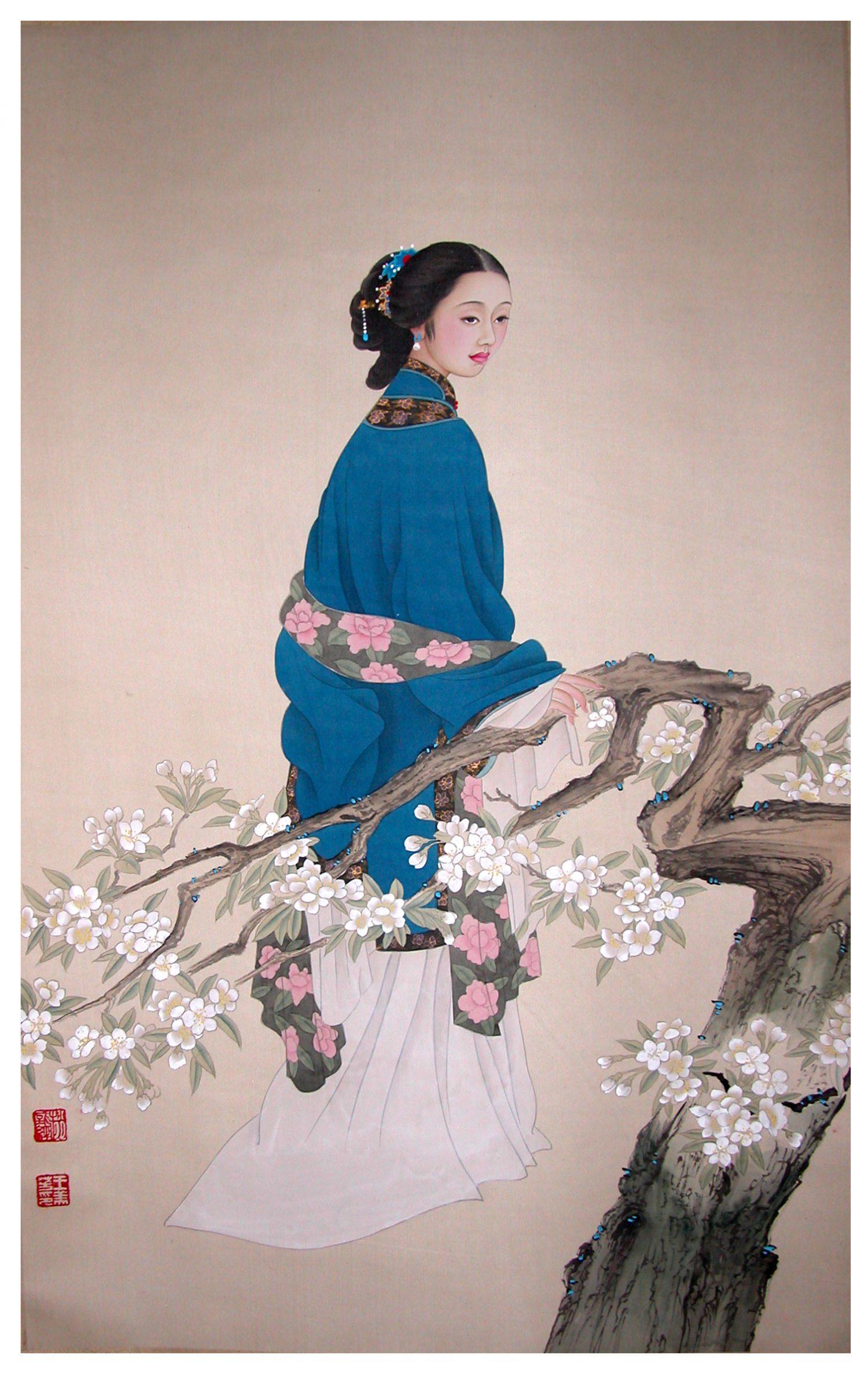 Femme en bleu et poirier fleuri -  Tempera sur toile de soie - 104 cm X 64 cm - XXème