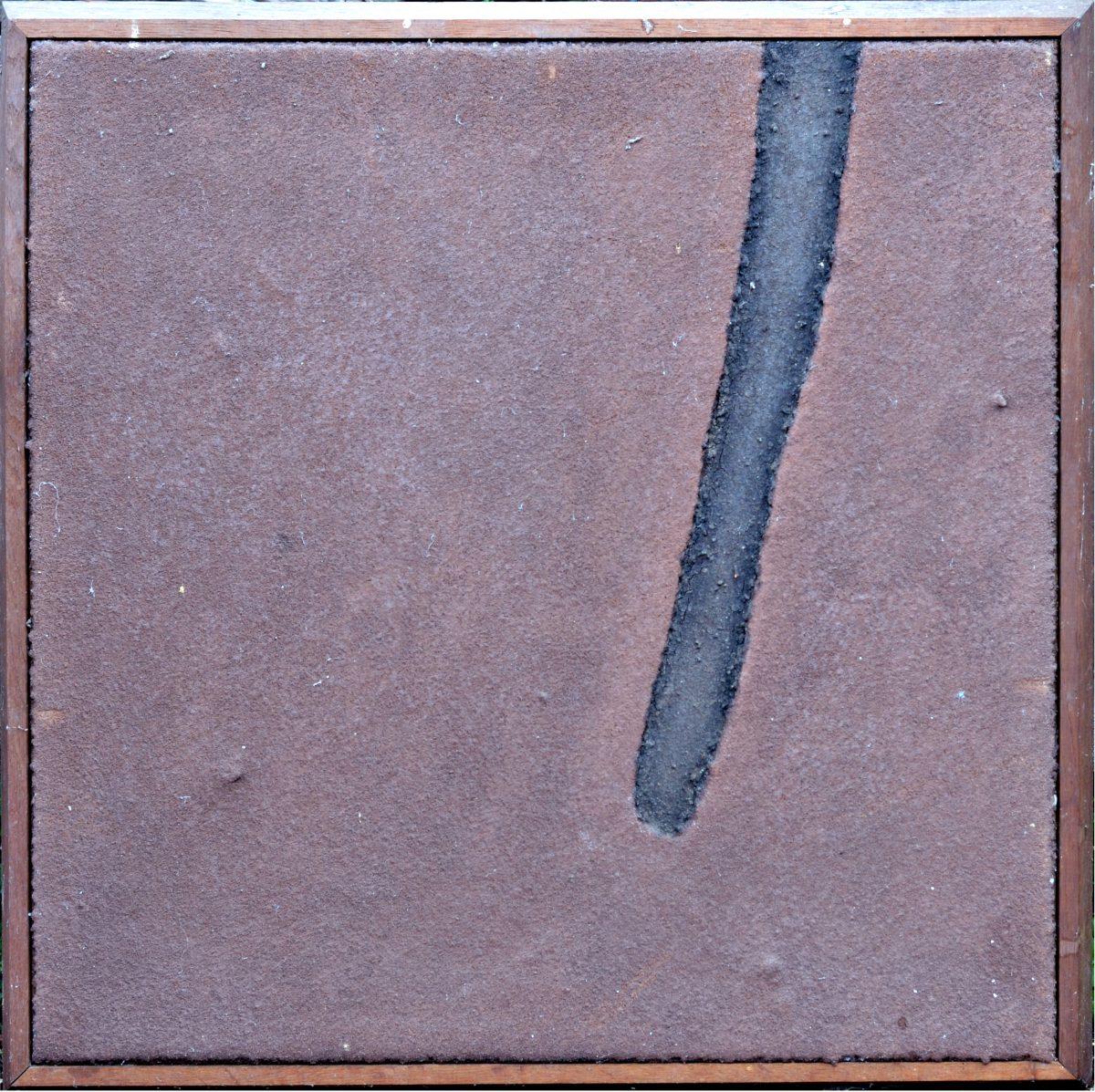Angel Alonso -Terre violette et bande noire - Terre élaborée - 60x60 cm