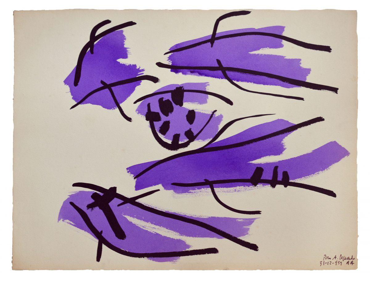 Angel Alosno - Signes violets - Encres sur papier - 51 x 66 cm - 1959