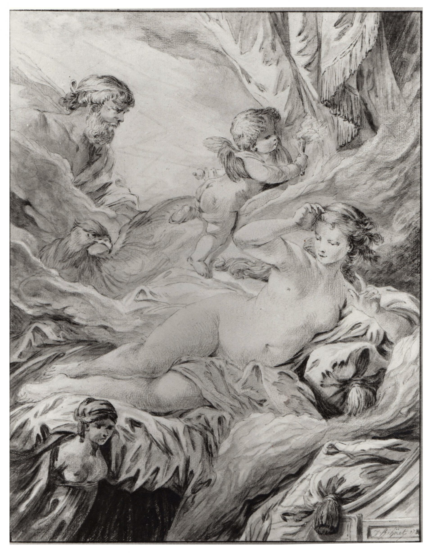 Jean - Baptiste Huet (1745-1811) - Sémélé attend la venue de Zeus - Aquarelle et pastel sur trait de plume - 21,6 x 17 cm - Signé, daté (1781) en bas à droite.