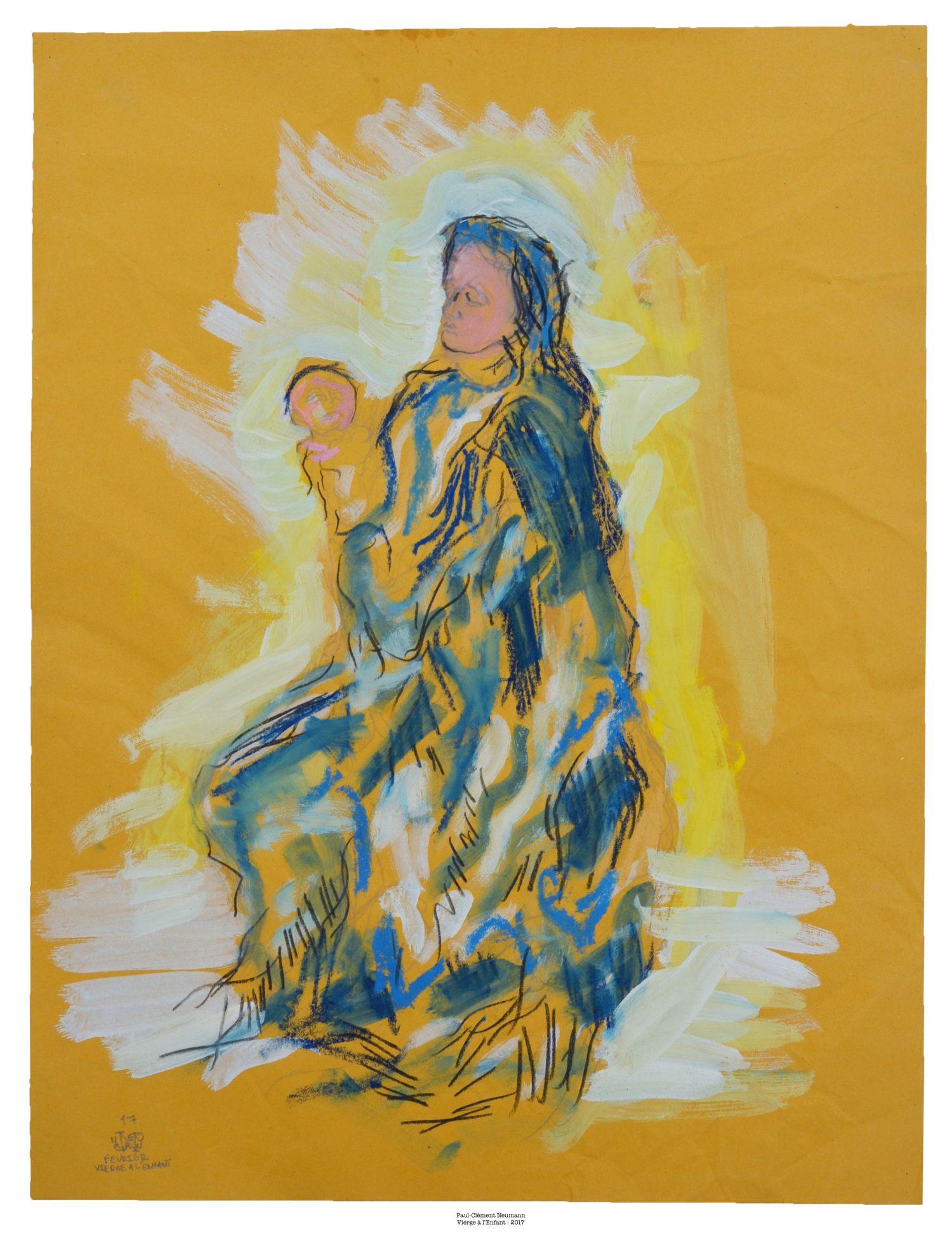 Vierge à l'Enfant - Pastel - 50 x 37, 5 cm