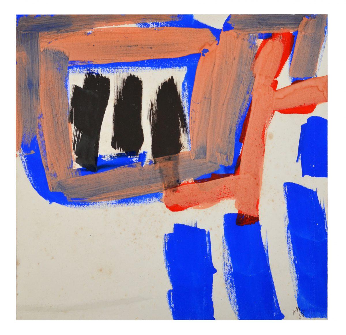 Bleu sur Rouge - Gouache sur Arches - 49,8 X 50 cm - 1958