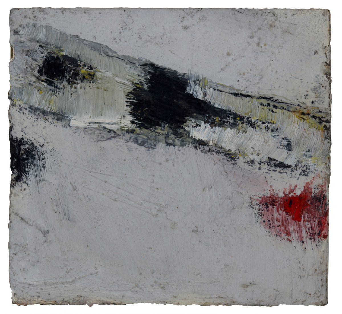 Angel Alonso - Composition - Huile sur panneau - 18 x 20,5 cm - 1963