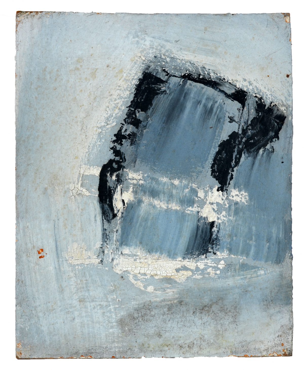 Angel Alonso -Composition bleue - Tempera - 34 X 26,5 cm - 1962