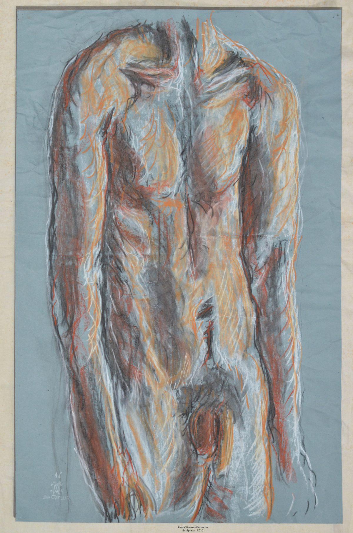 Sculpteur - Sanguine sur papier - 75 X 50 cm