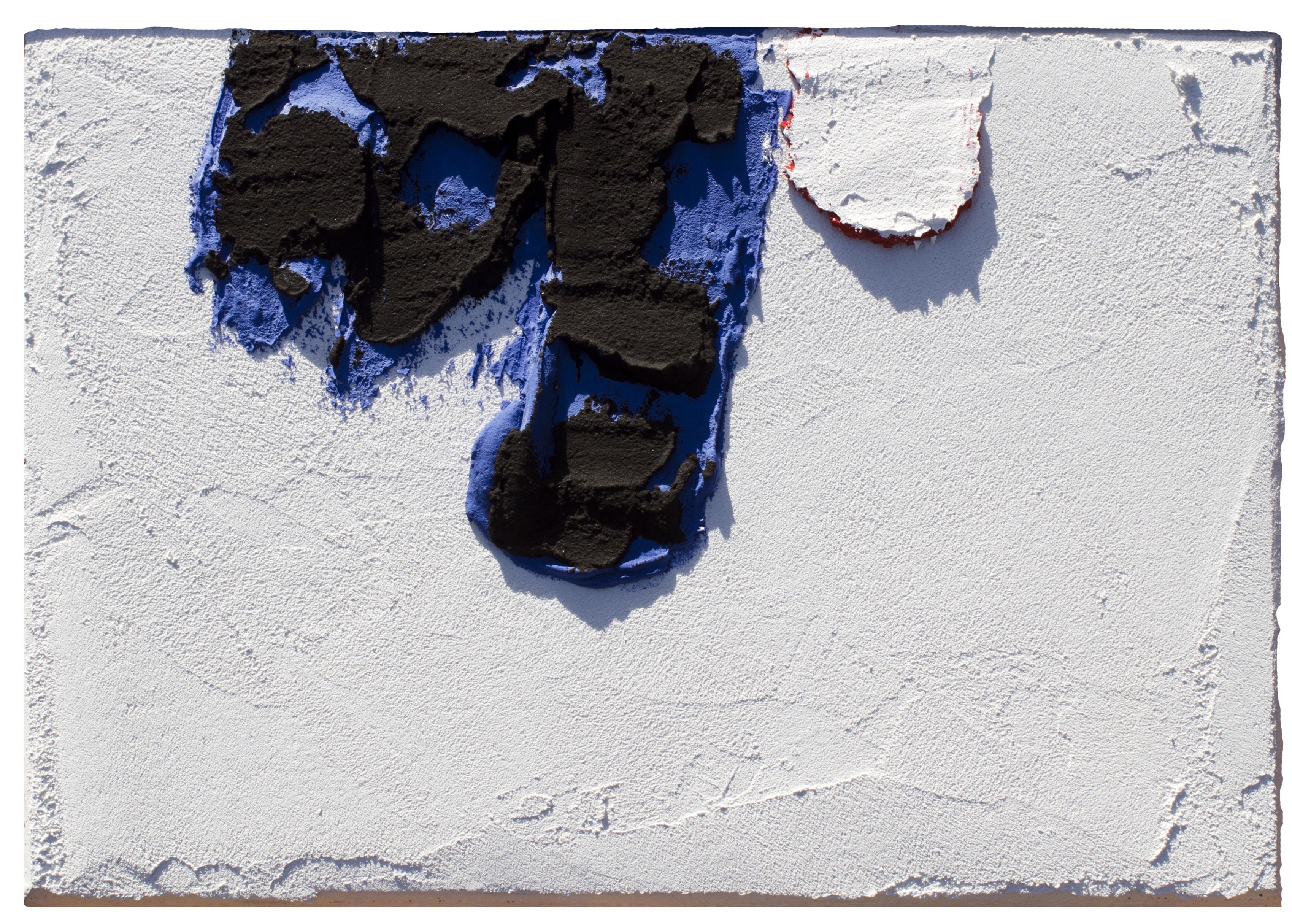 Angel Alonso -Rouge sur Bleu - Pigments sur panneau - 34,5 x 23,5 cm