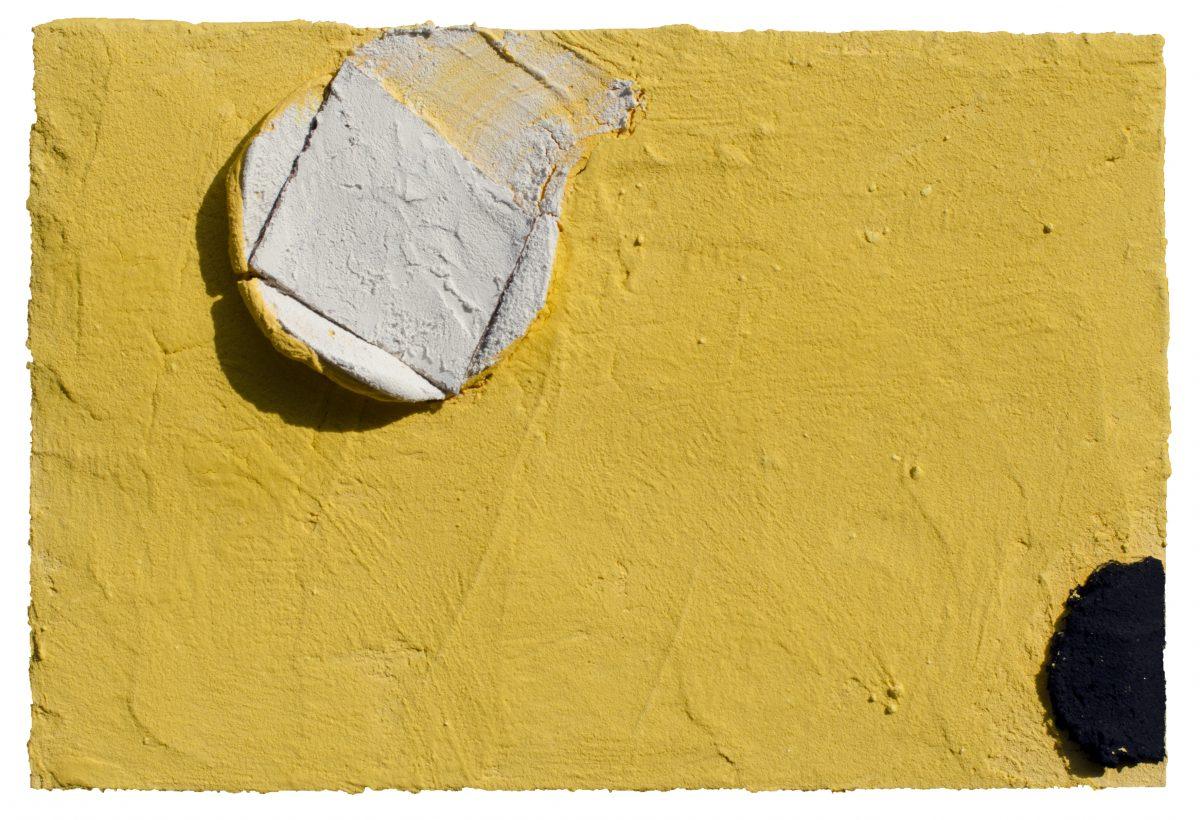 Angel Alonso - Témoin Blanc dans le Jaune et Repère Noir - Pigments sur Panneau - 18 x 27 cm