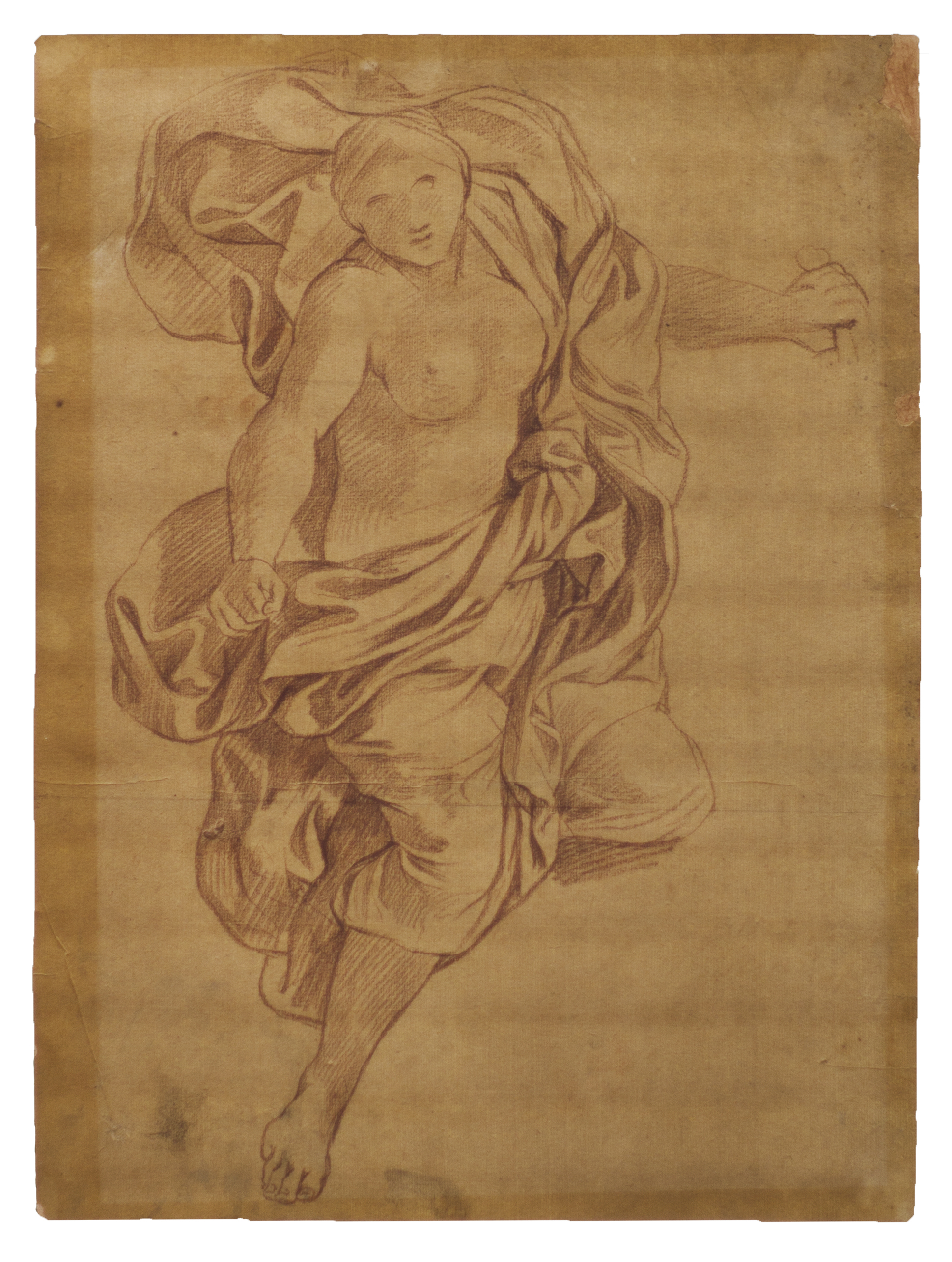 """André - Jean Lebrun (1737-1811) - """" Figure mythologique """" - Sanguine - 41 x 35 cm"""