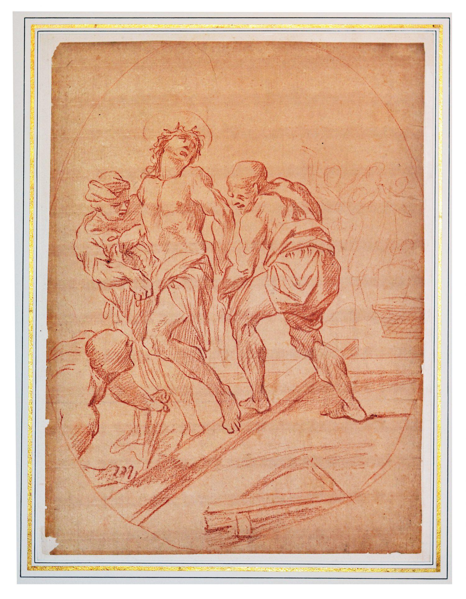 """André - Jean Lebrun (1737-1811) - Via Crucis XI - """" La Mise en Croix """" - Sanguine - 37 x 27 cm"""
