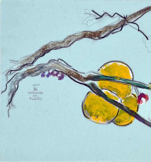 Citronnier en fleur - Tempera sur soie - 20 x 37 cm -2020